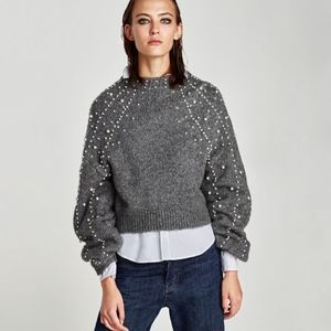Zara Cropped Sweater with Faux Pearls